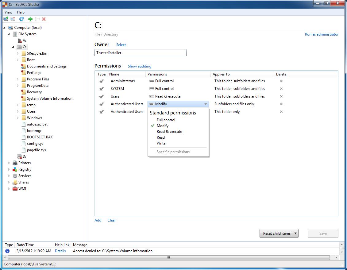 Windows 7 SetACL Studio 1.2.4 full