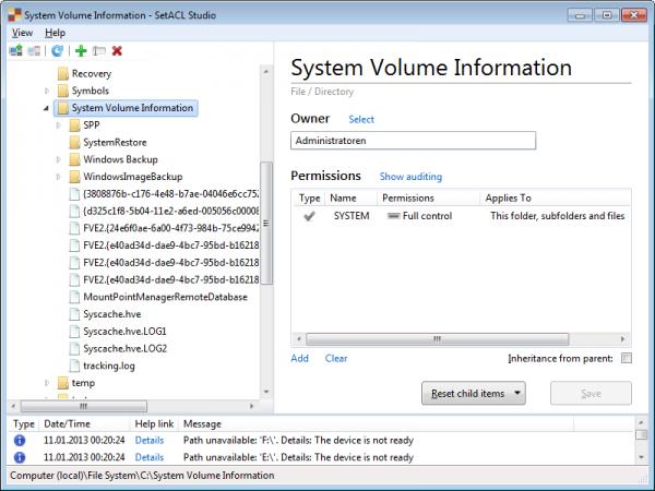 System Volume Information - SetACL Studio