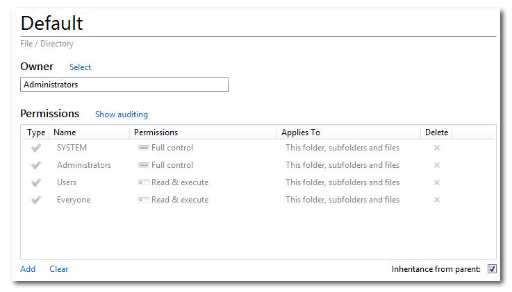 Default profile permissions in SetACL Studio