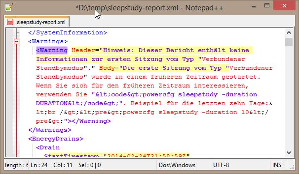 sleepstudy-report.xml with XML formatting error