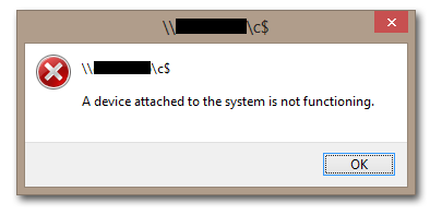 Error Connecting to C$: Device Attached to the System is not