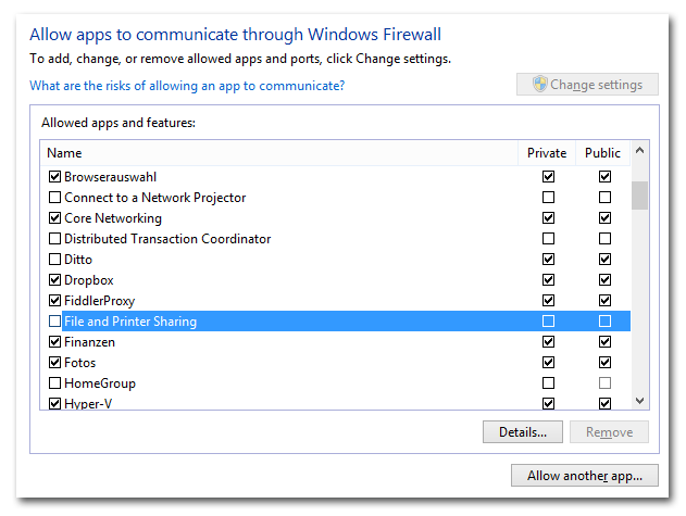 File and Printer Sharing disabled in Windows firewall