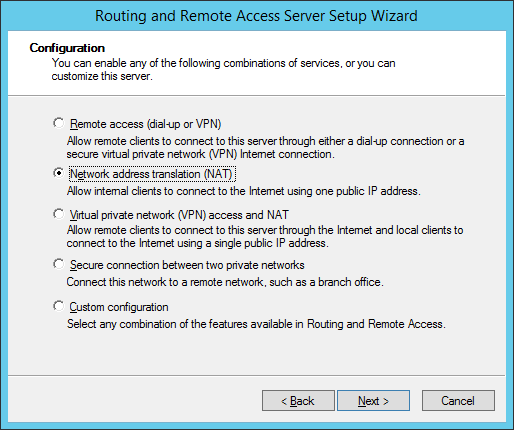 Routing and Remote Access Server Setup Wizard - NAT