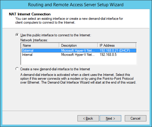 Routing and Remote Access Server Setup Wizard - NIC selection