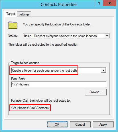 Folder redirection - Second home directory 1
