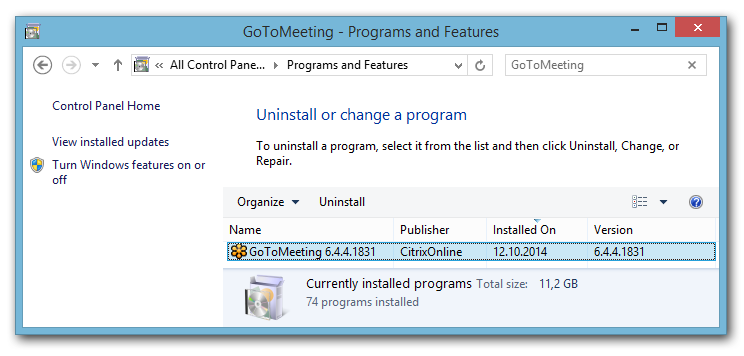 GoToMeeting version shown in programs and features