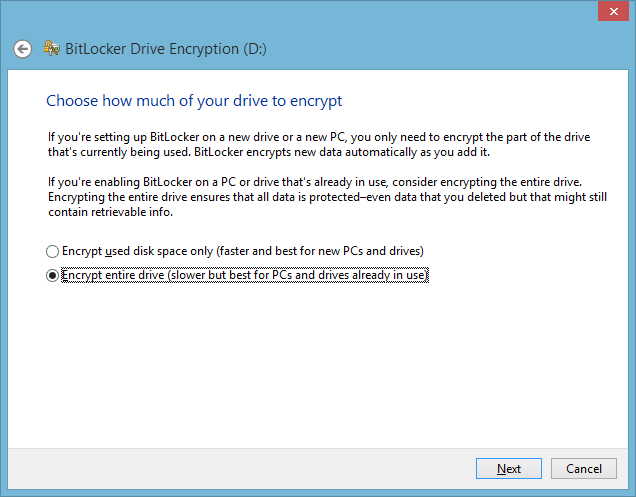 BitLocker Drive Encryption - how much to encrypt