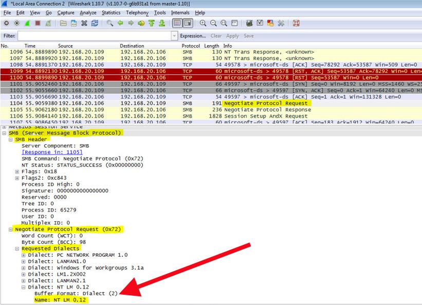Network trace - SMB1