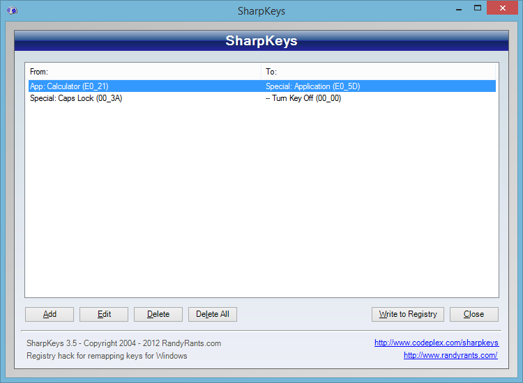 Windows 8.1 Keyboard Remapping with SharpKeys