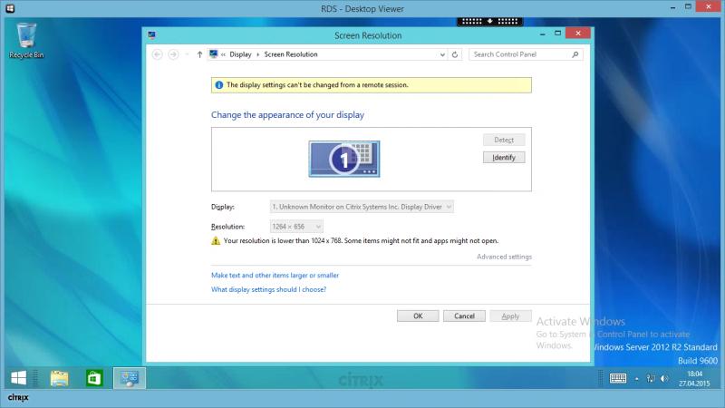 Citrix Desktop Viewer - window size 1280x720