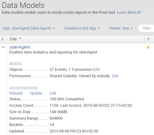Splunk - Checking the data model acceleration status
