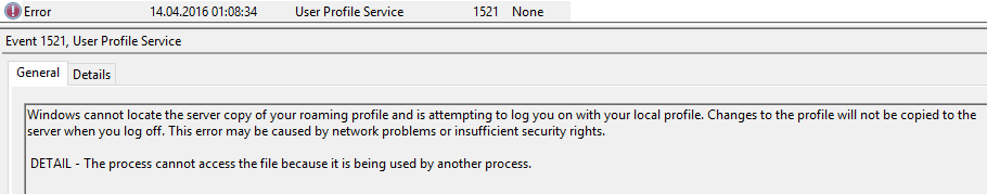 Roaming profile error 1521 in event viewer